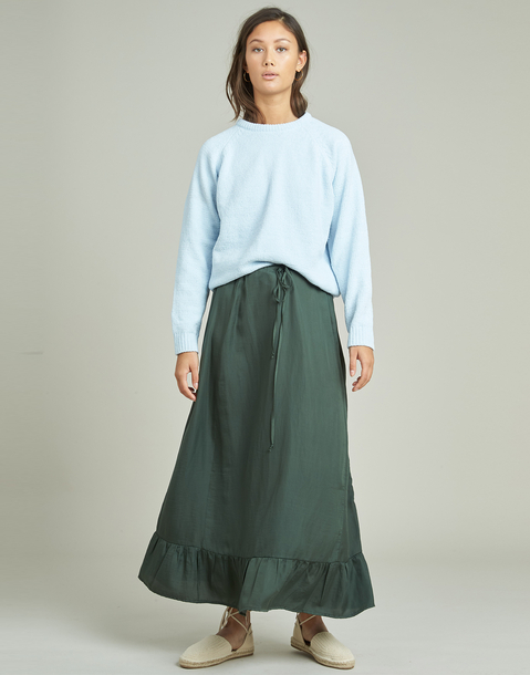 long skirt with ruffle hem