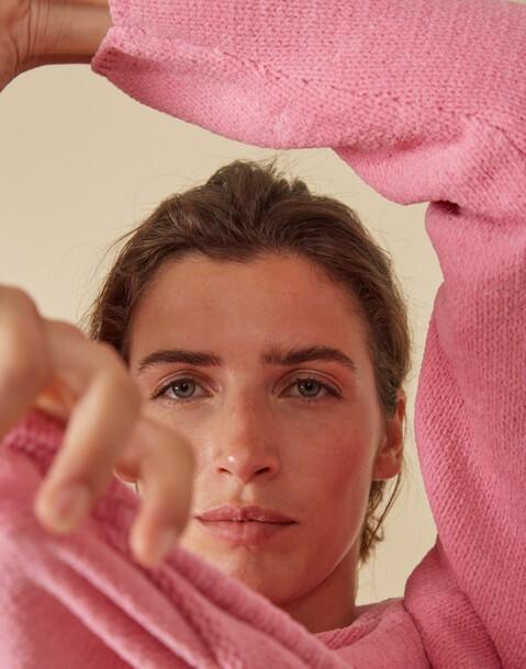 chenille sweater with round neckline