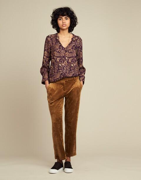 velour pocket straight pants