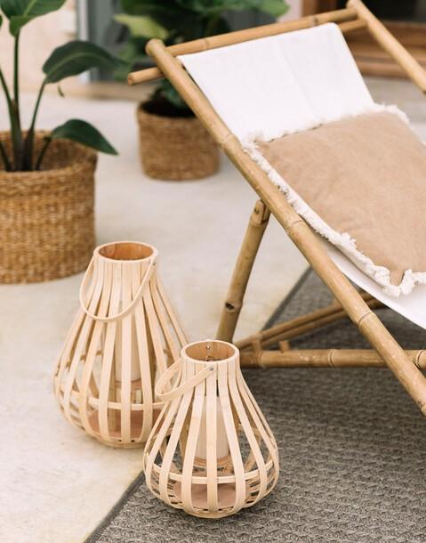 lanterne bougie bambou 30 x 40 cm