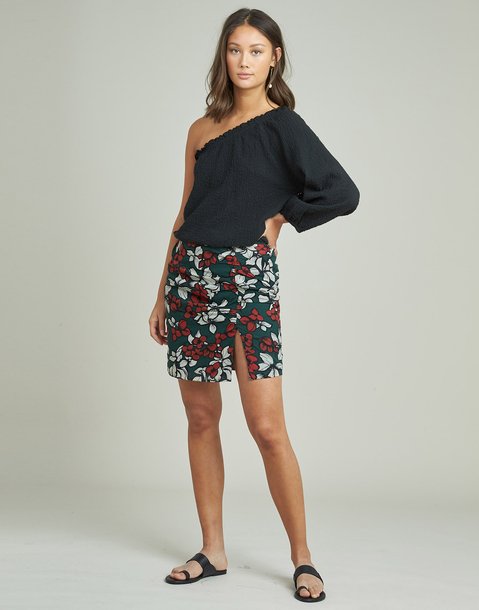 central pleat printed skirt