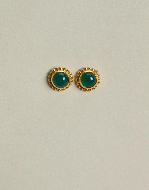 flower with stone gold plated earrings