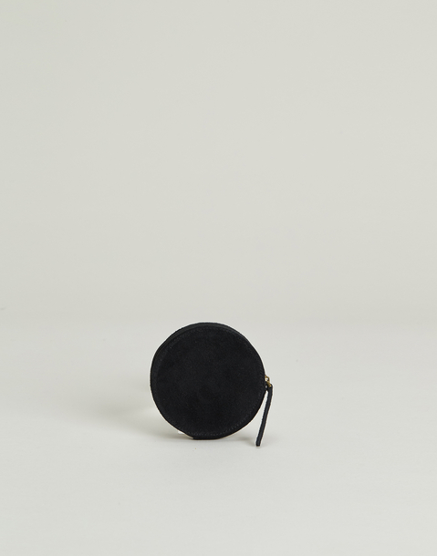 round suede coin purse