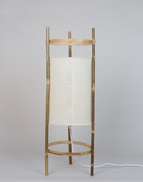 lámpara de pie cilindrica tela y caña