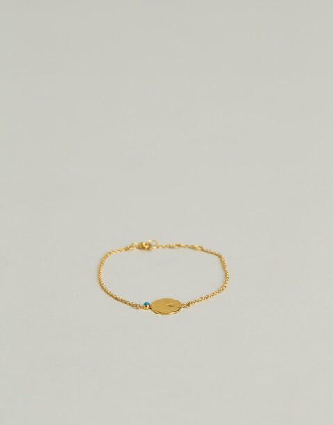 bracelet médaille turquoise doré