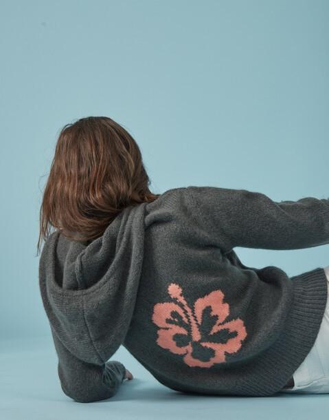 hibiscus zip-up hoodie