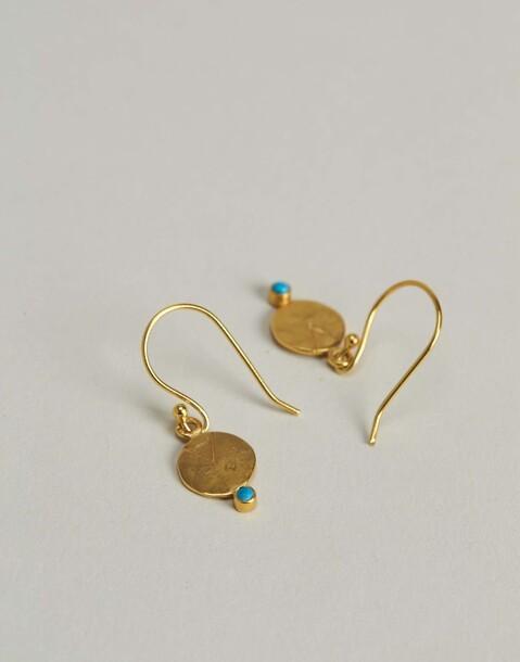 boucles d'oreilles médaille turquoise dorées