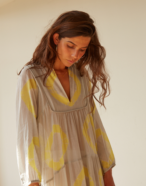 tie-dye long sleeved maxi dress