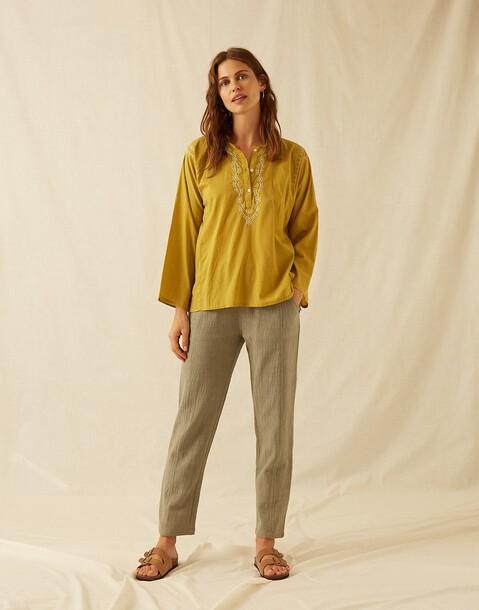 pantalon poches tissu rustique