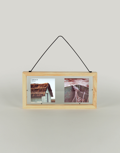 wood frame with metal hanger