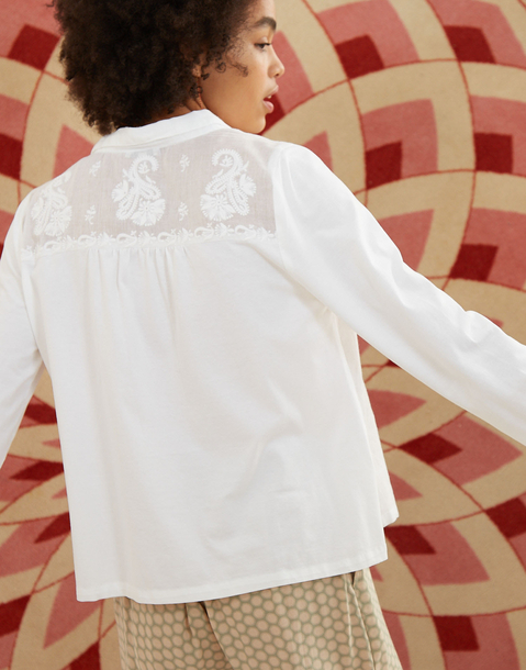 long sleeve embroidered cotton shirt