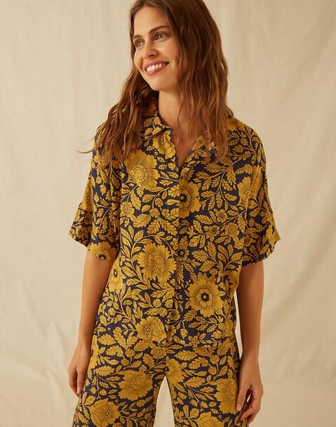 chemise fleur bicolore