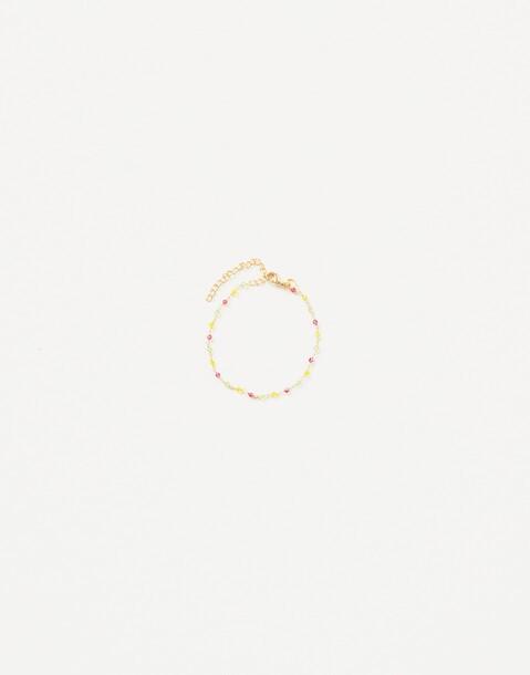 bracelet chaîne et petites pierres doré