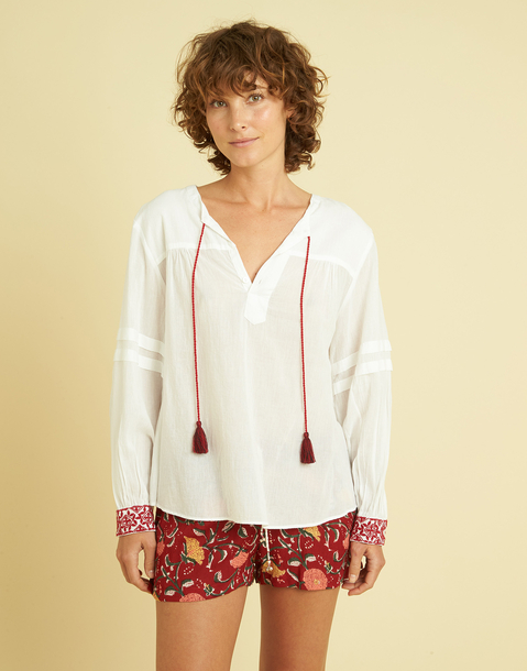 LONG SLEEVE BLOUSE WITH EMBROIDERED CUFFS