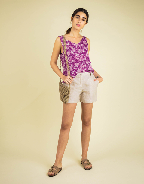 HIBISCUS SLEEVELESS TOP