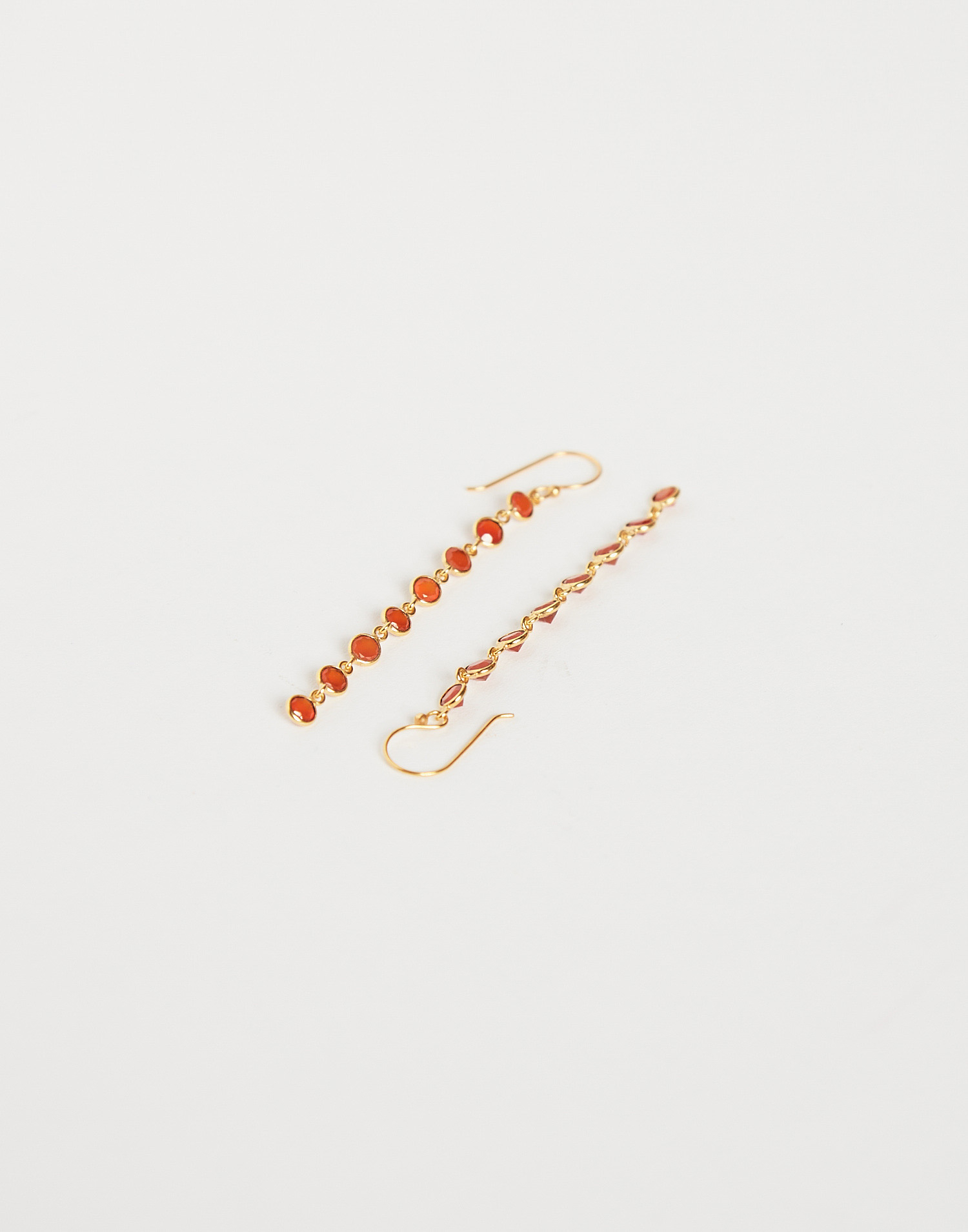 Gold plated stone drop earring