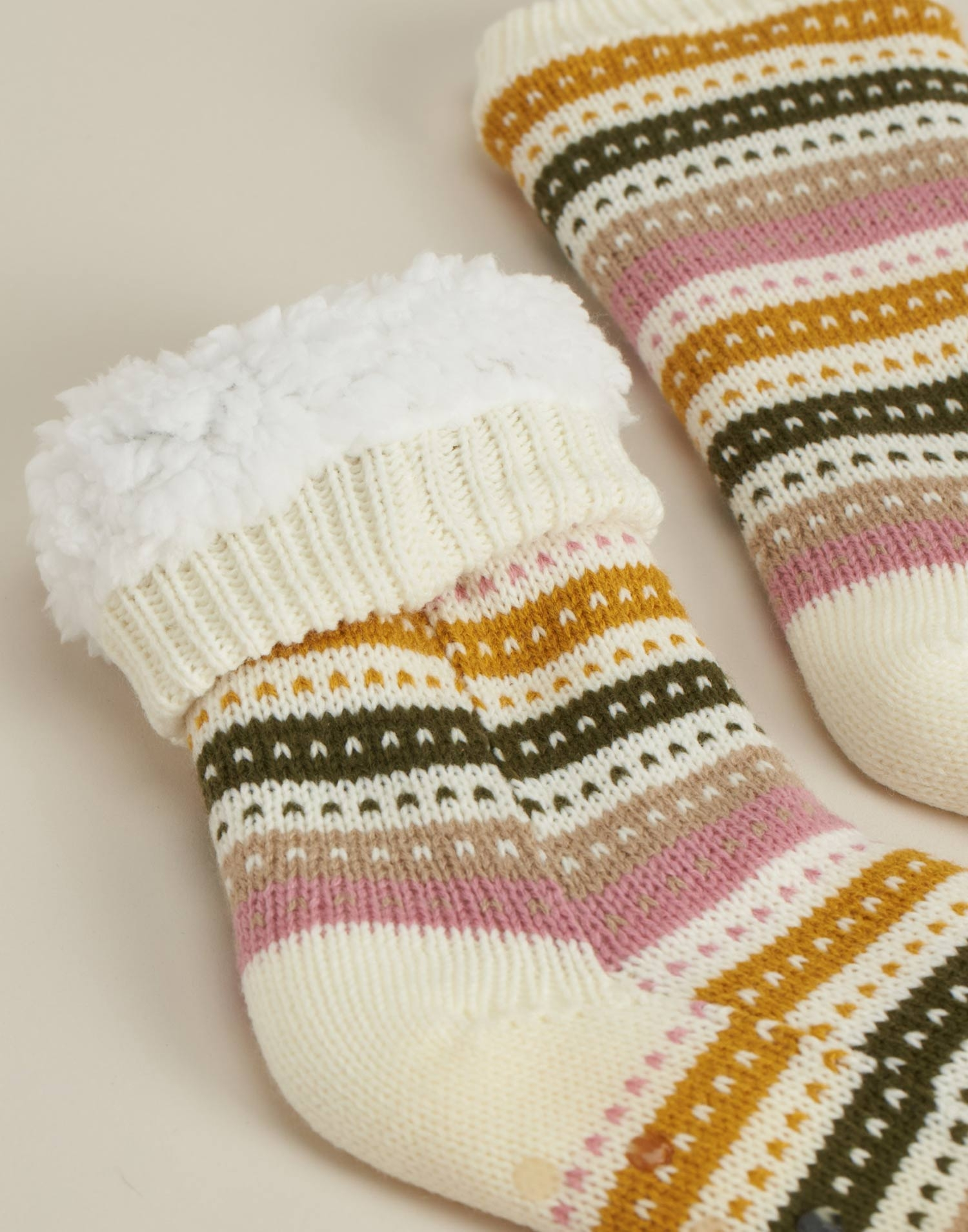 Calcetín tricot rayas pastel