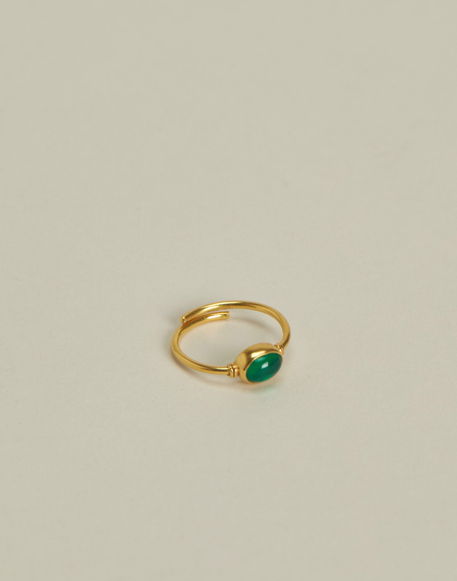 Gold plated oval stone ring
