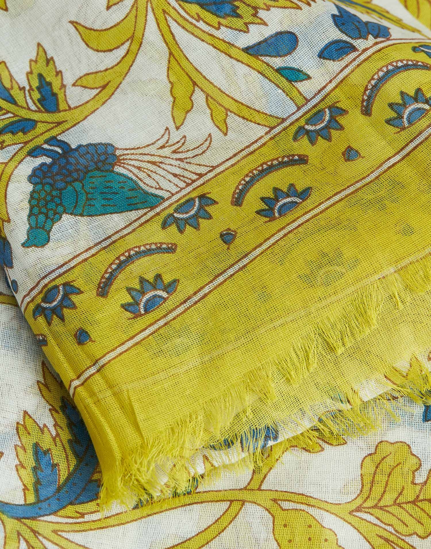 Indian long branches printed foulard