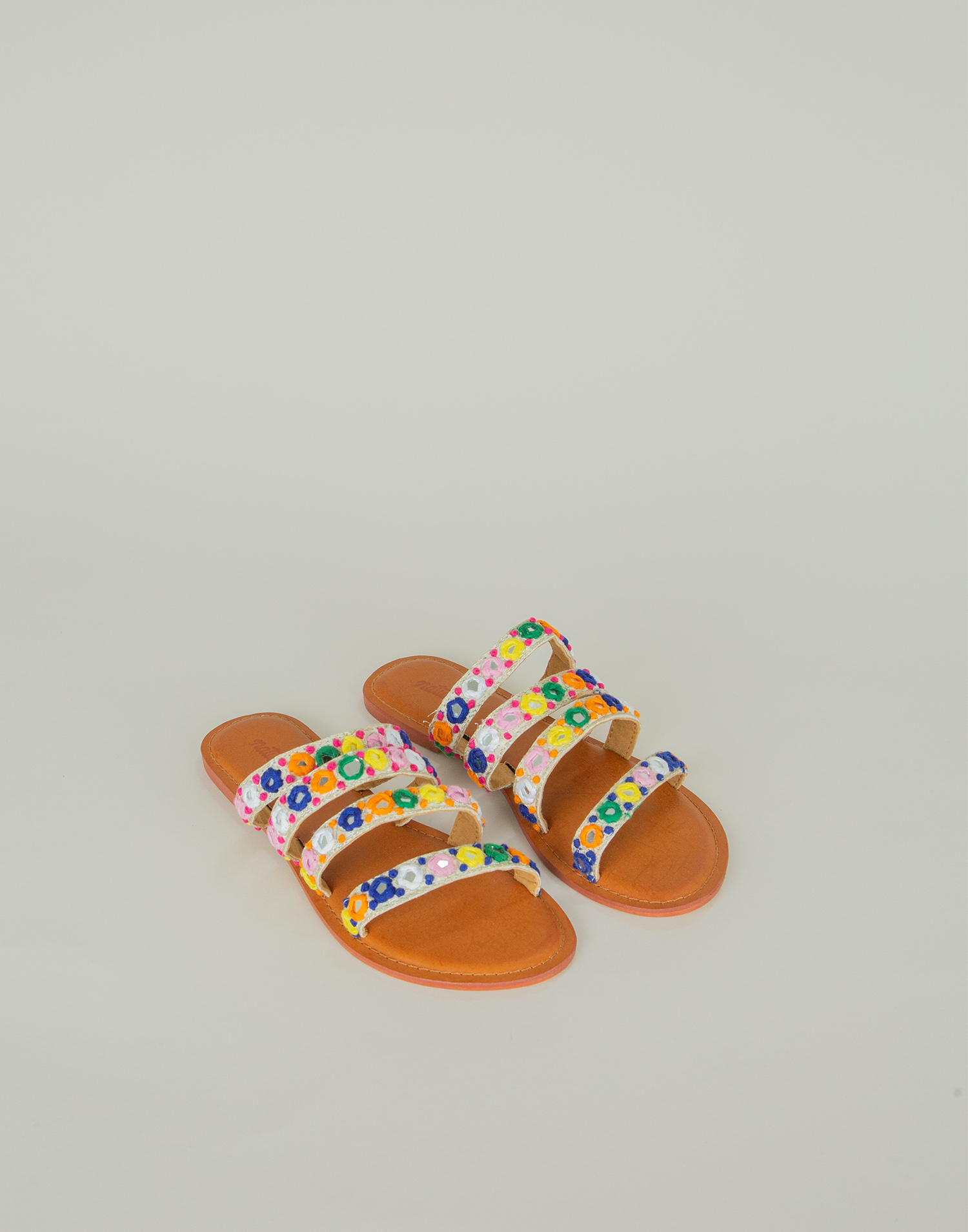 Colored mirror straps sandal