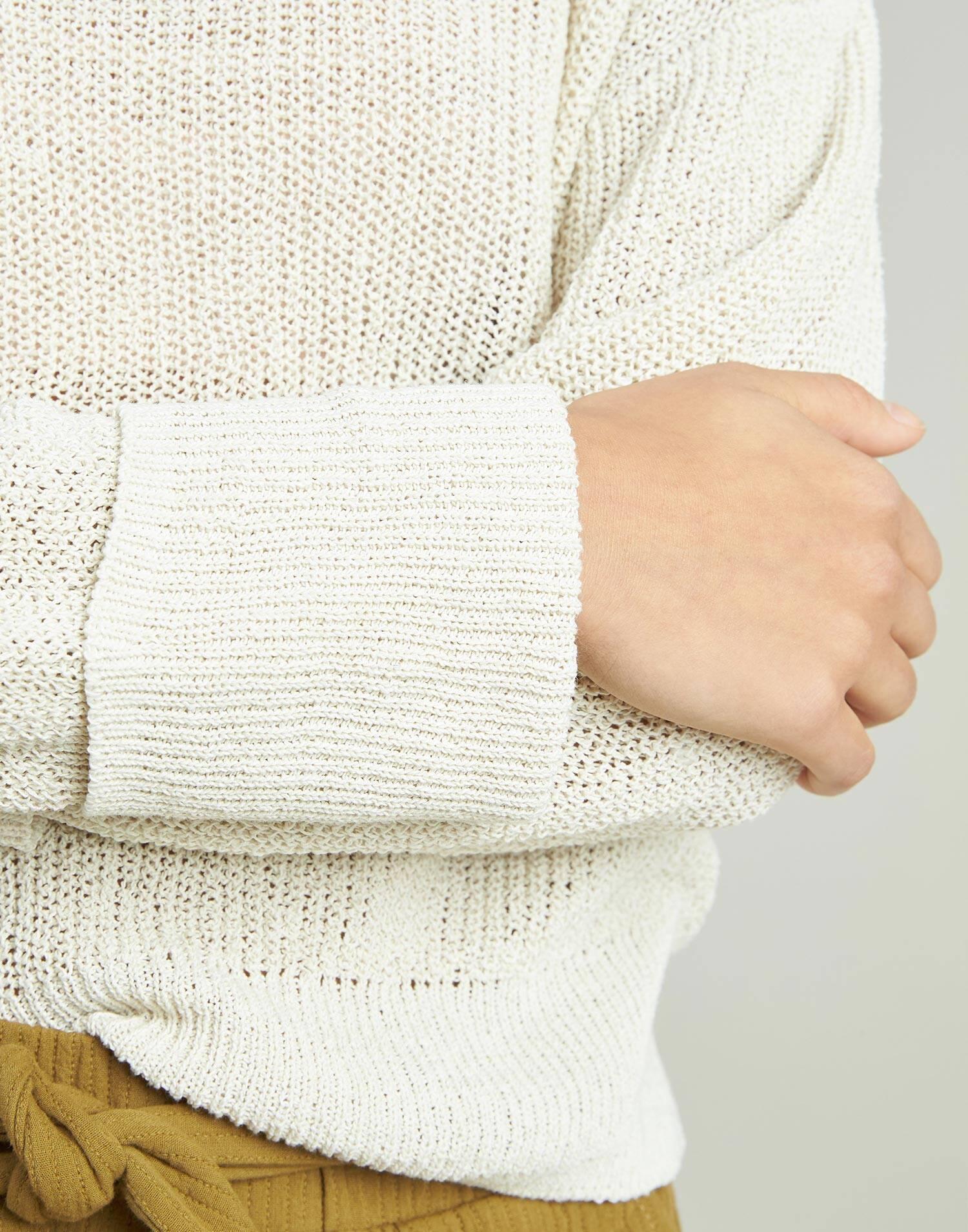 Openwork and turn-up cuffs sweater