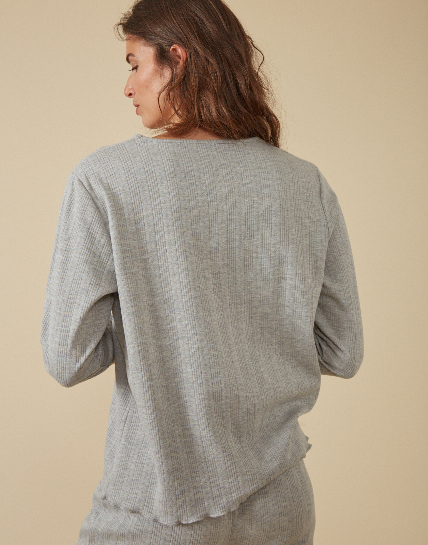 Openwork homewear long-sleeved t-shirt