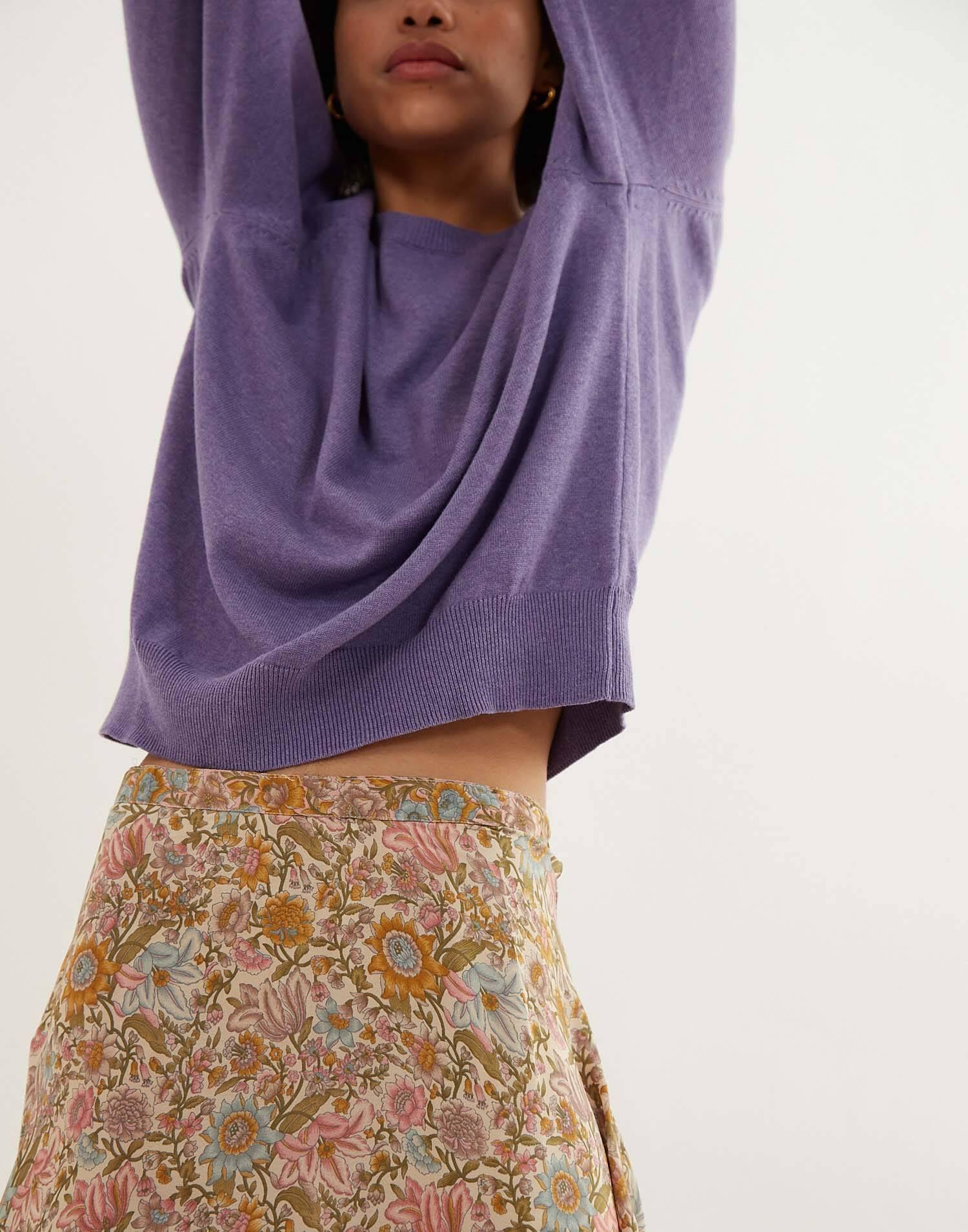 Silk midi skirt