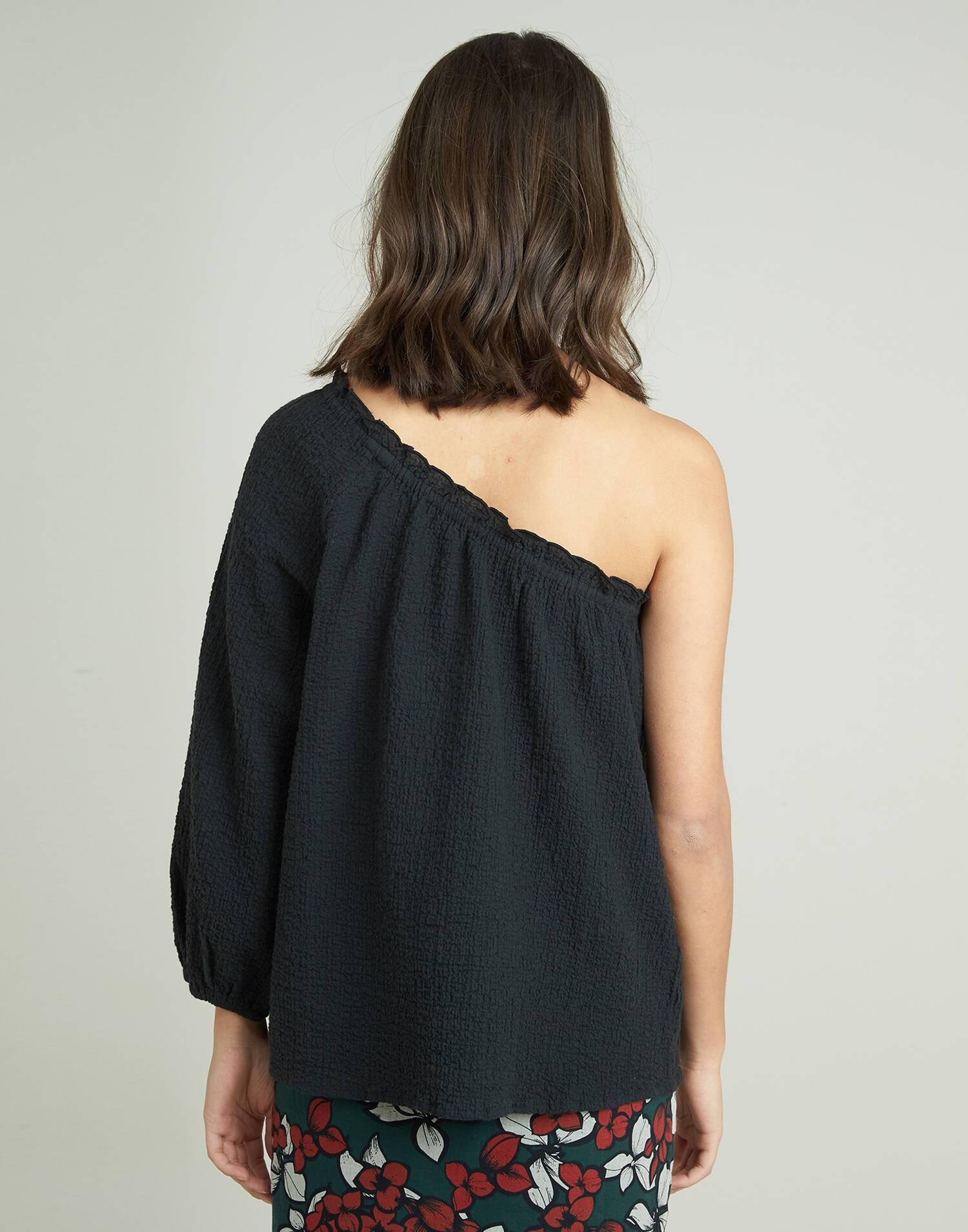 Camisa 1 hombro tejido arrugado