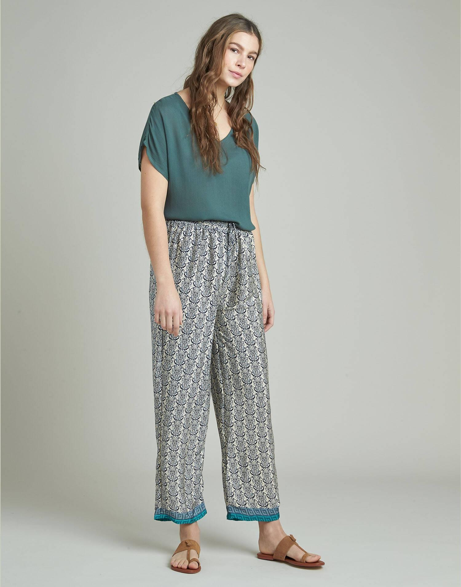Pantalón largo cordón seda