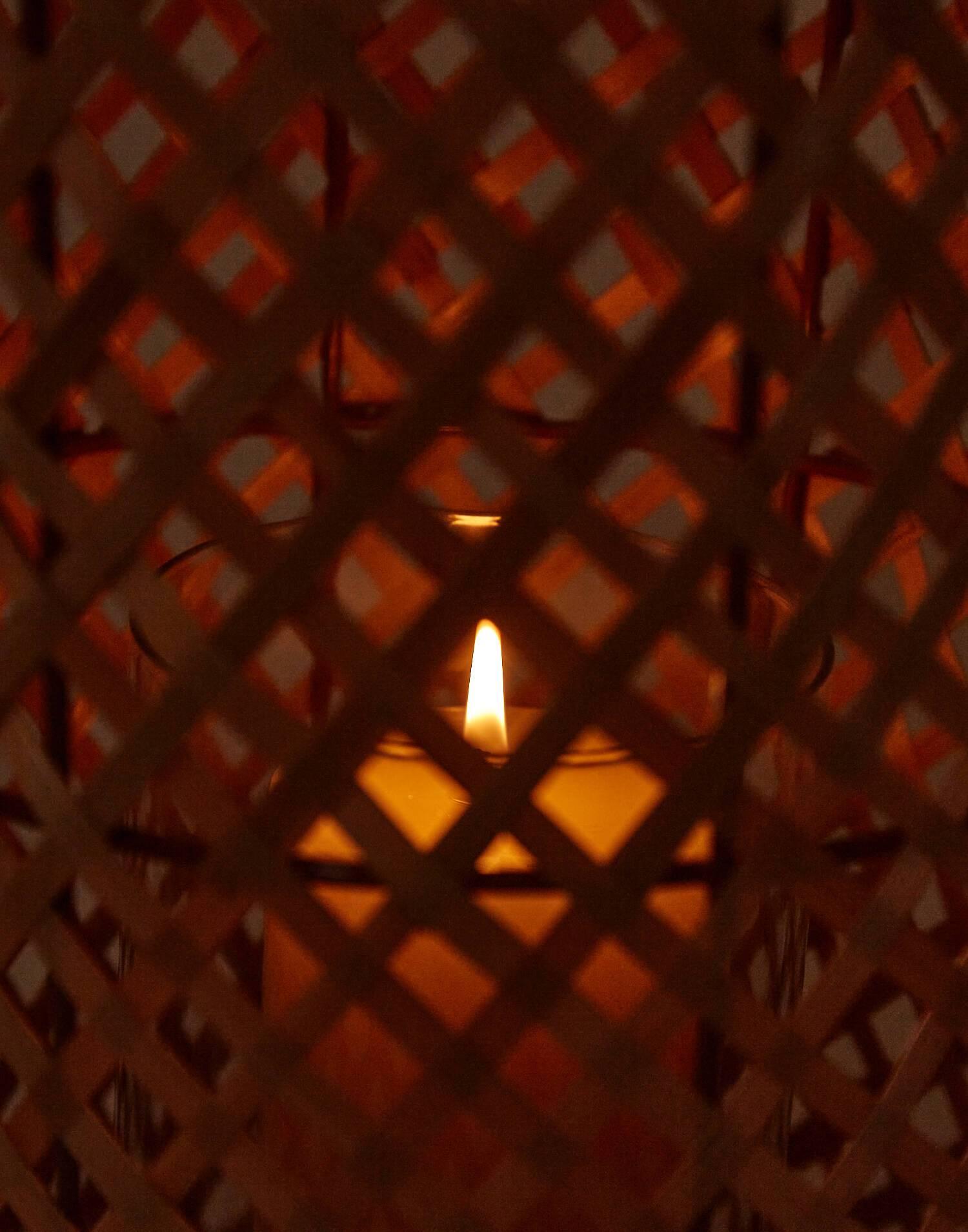 Bamboo candle holder big