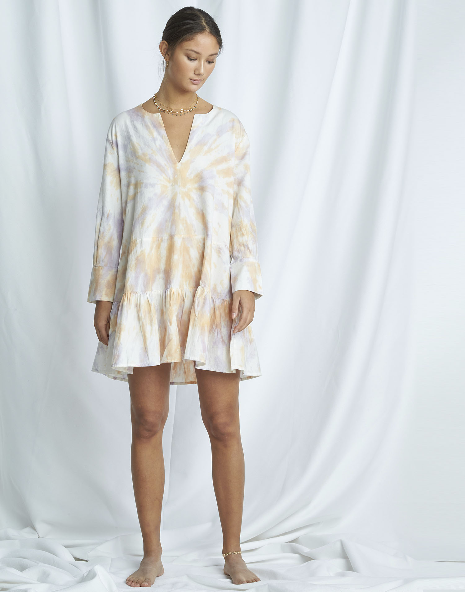 Organic tie-dye short dress