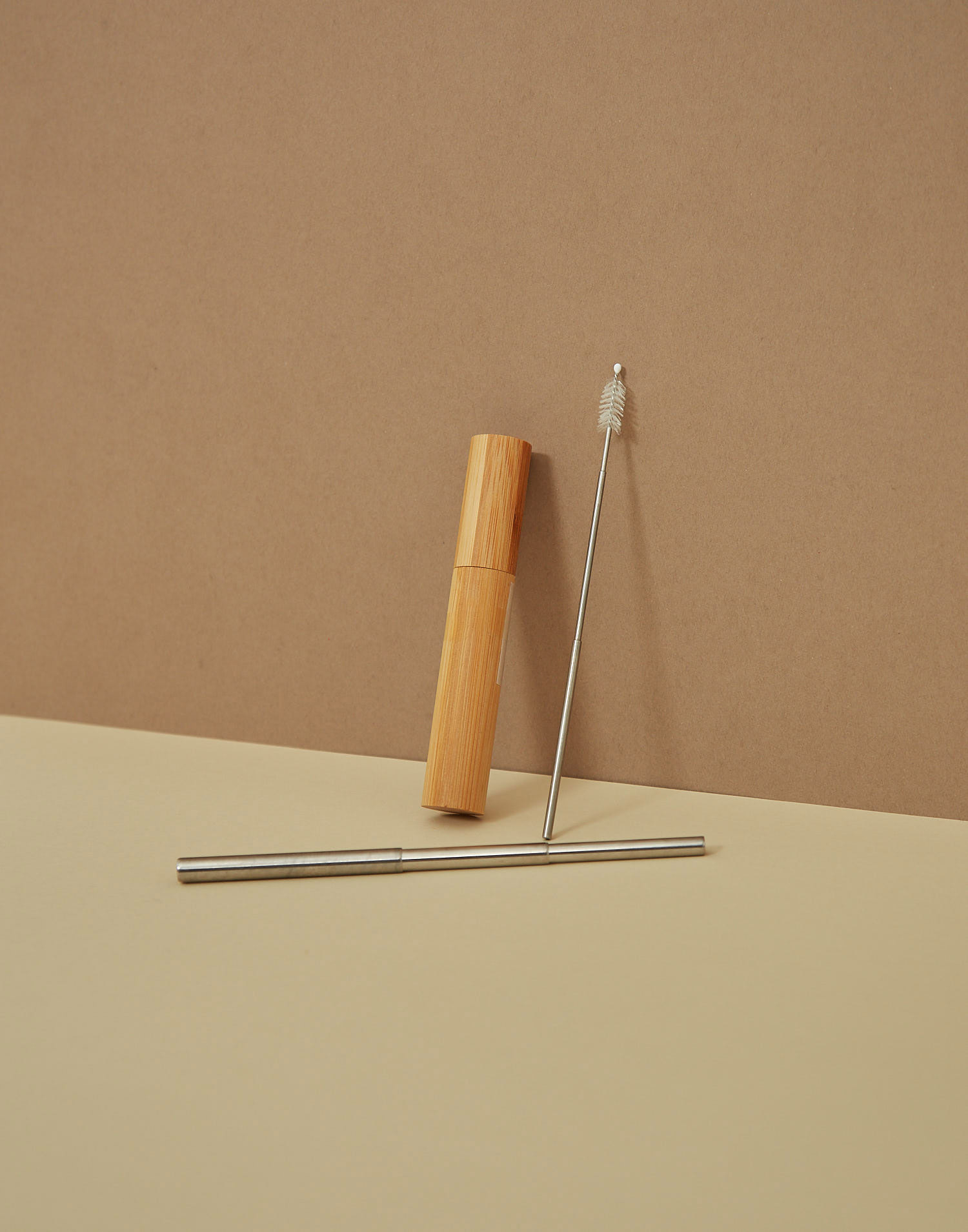 Foldable steel straw with bamboo box
