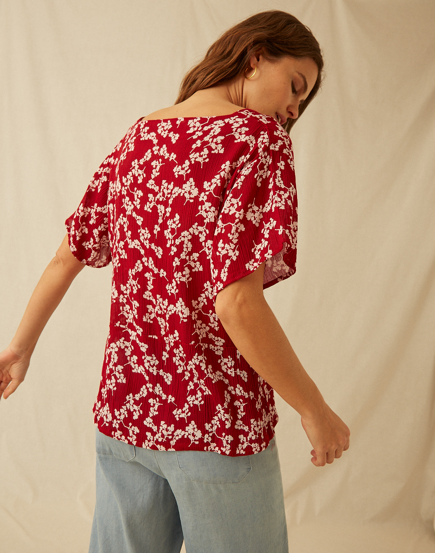 Blusa manga corta abotonada flor mini