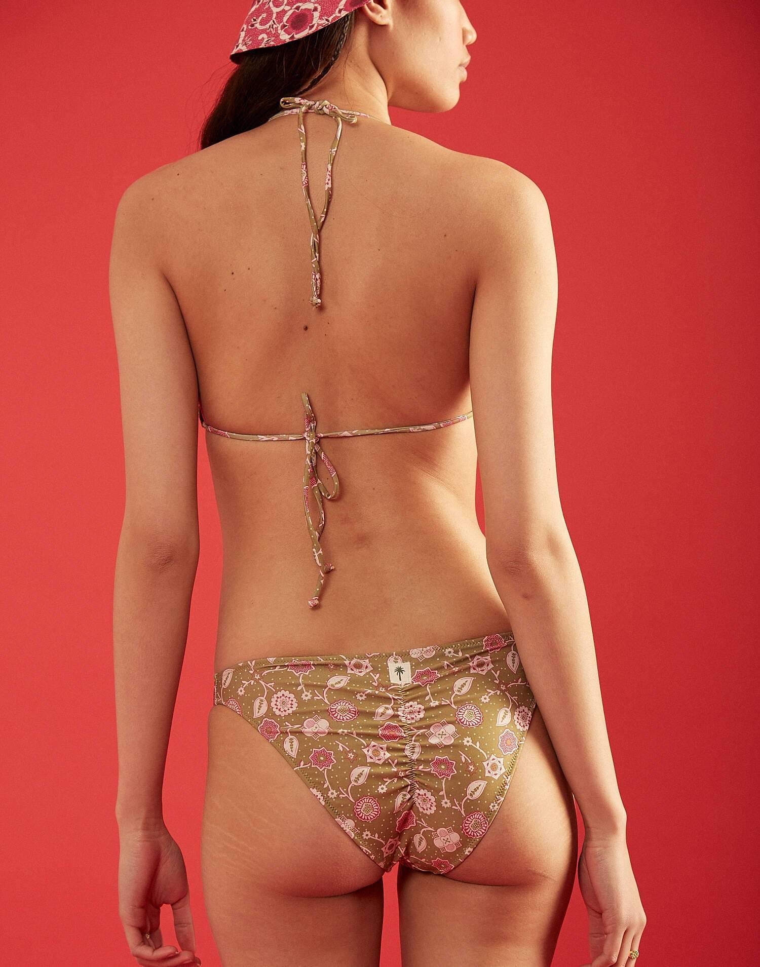 Haut bikini triangulaire fleur