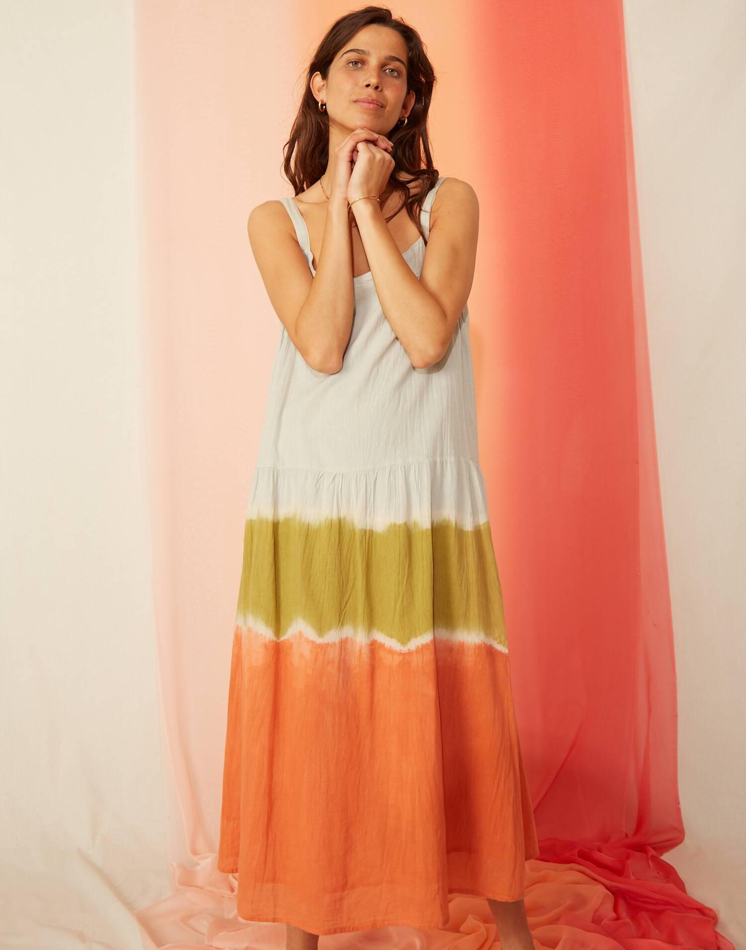 Vestido tirantes tie-dye tricolor