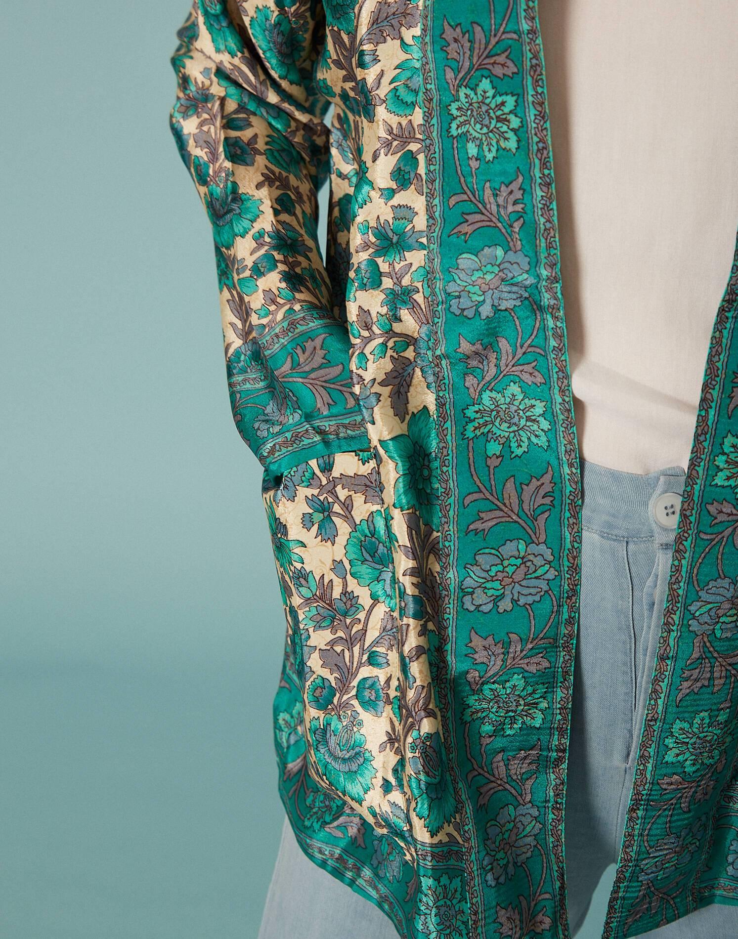 Kimono floral soie
