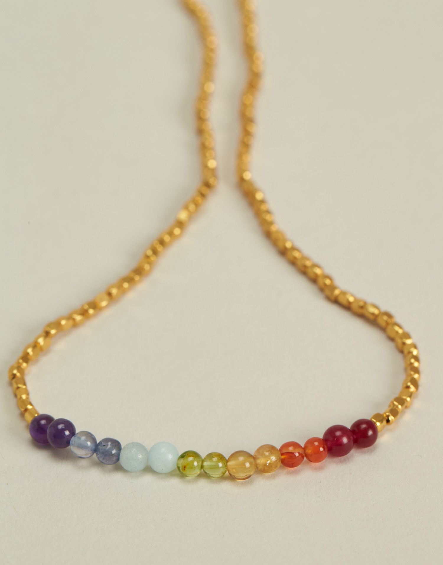7 chakras gold plated necklace