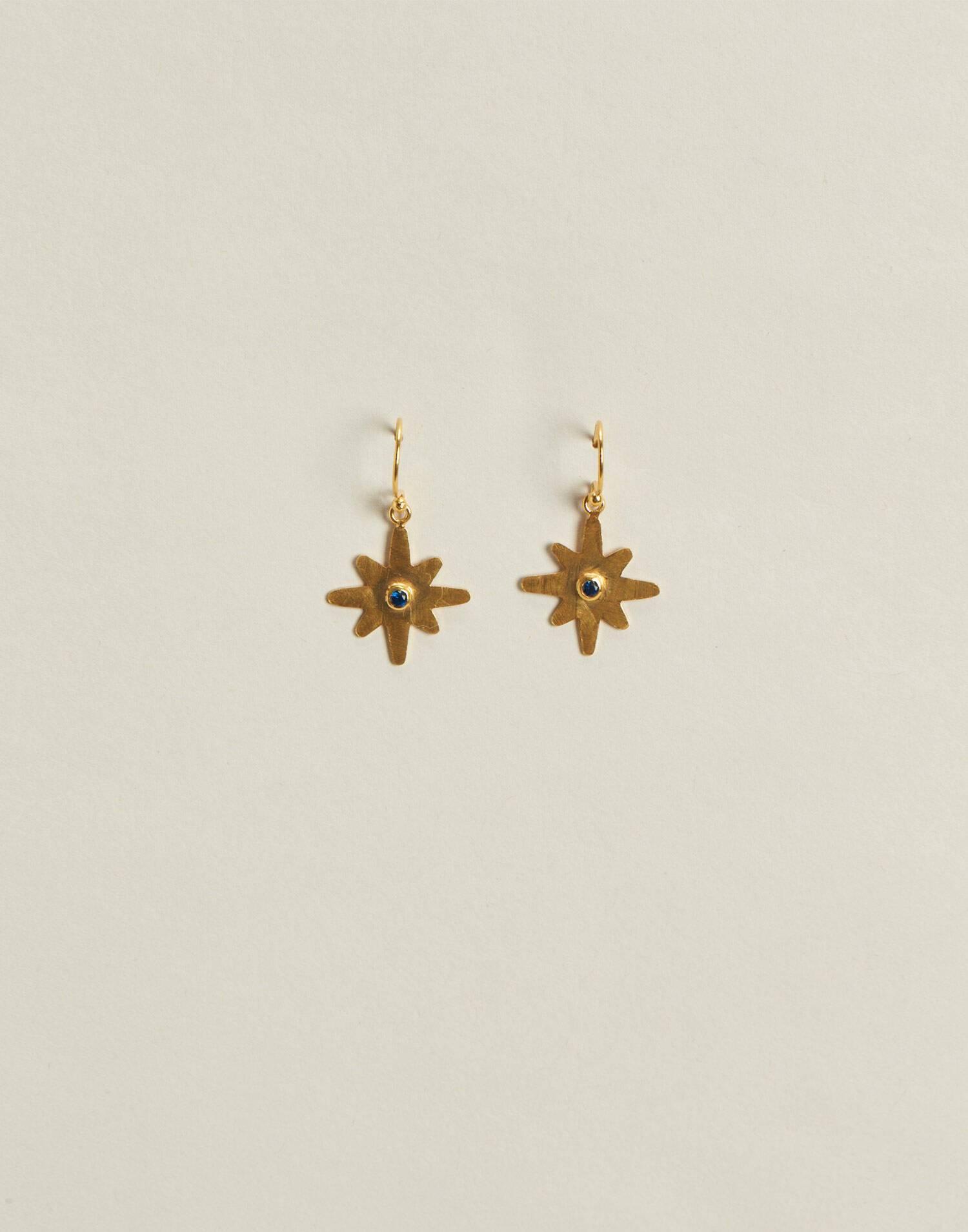 Pendientes estrella baño de oro