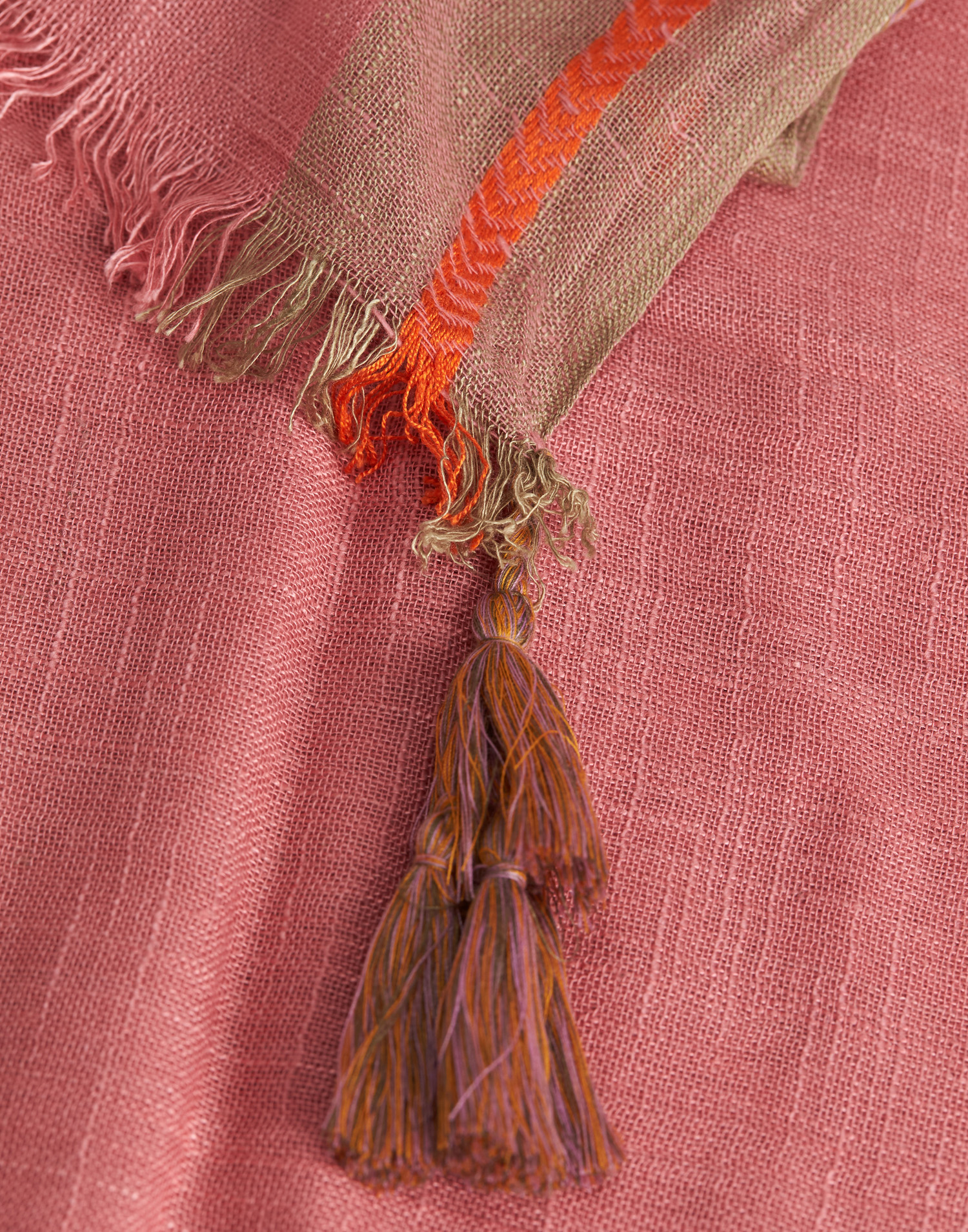 Pompom embroidered foulard