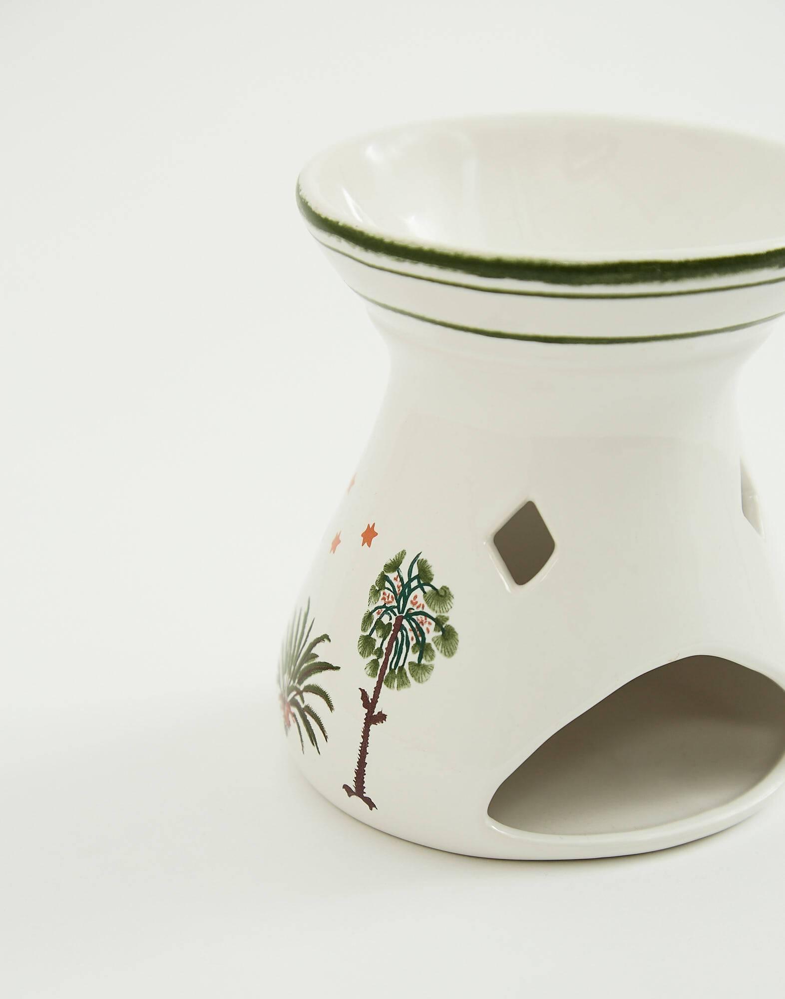 Palm tree ceramic oil burner