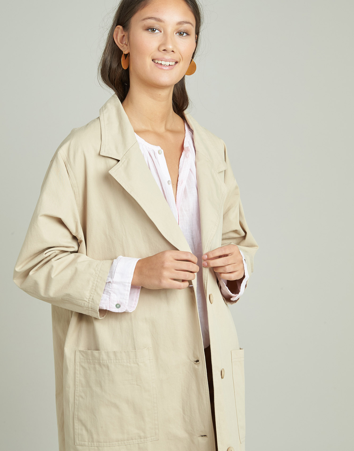 Canvas trench coat