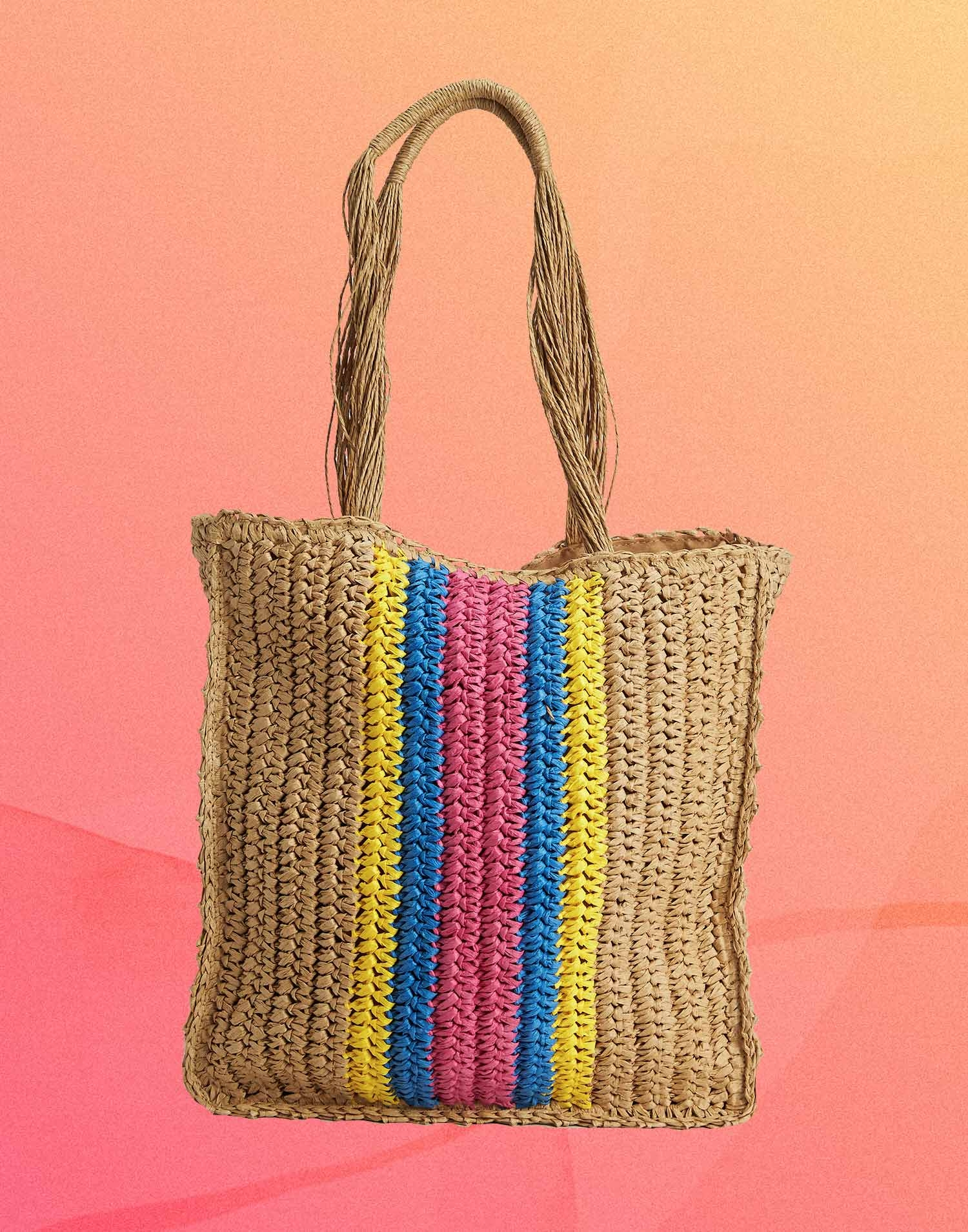 Paper bag with multicolor trimming