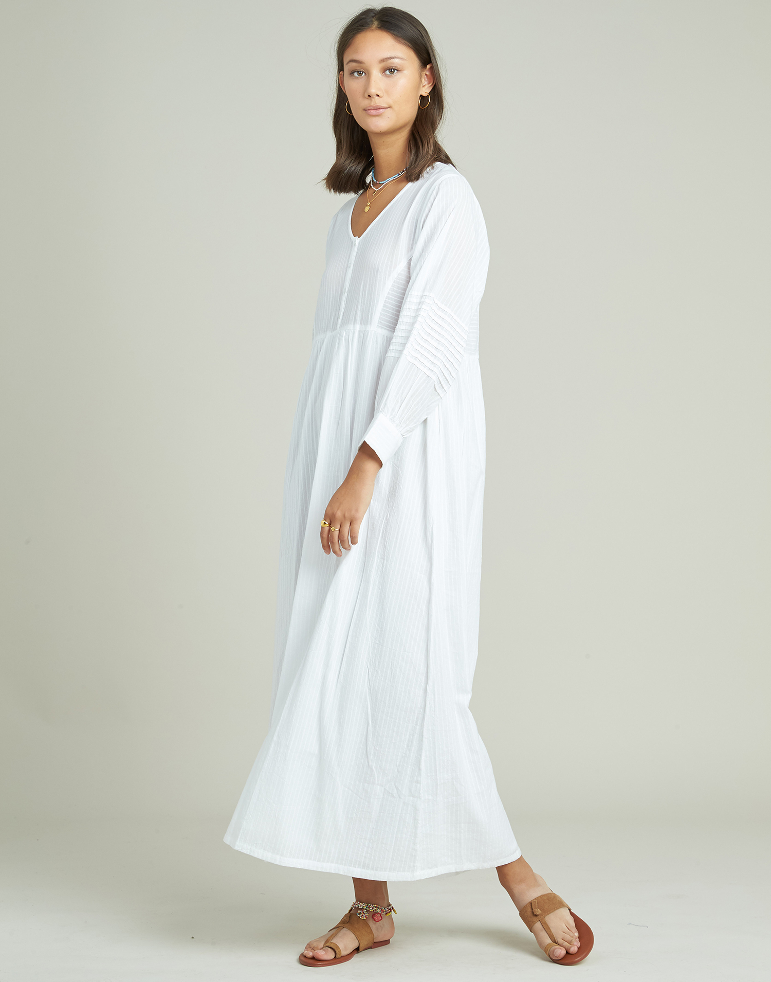 Vestido túnica largo dobby