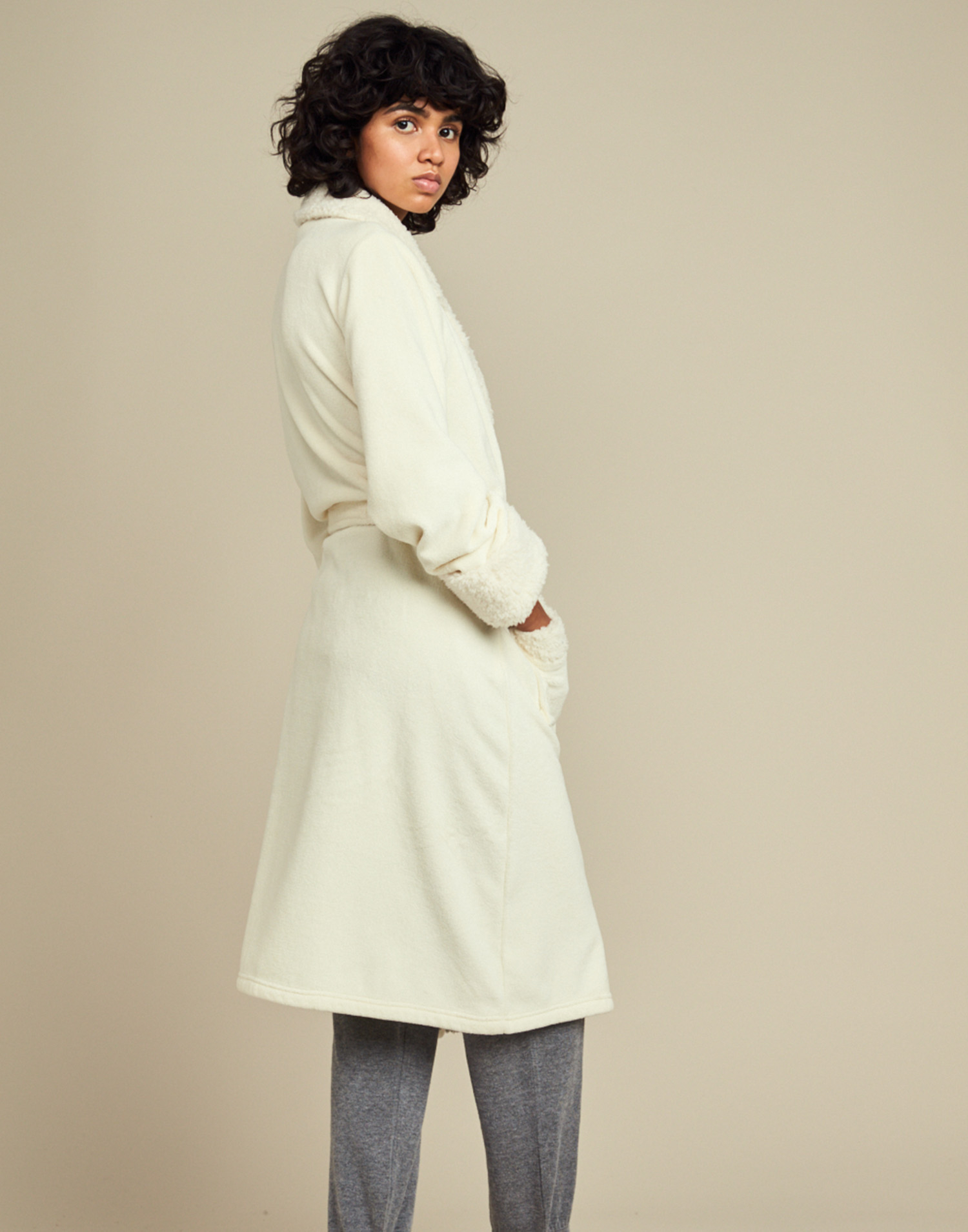 Long nightgown with fleece inner