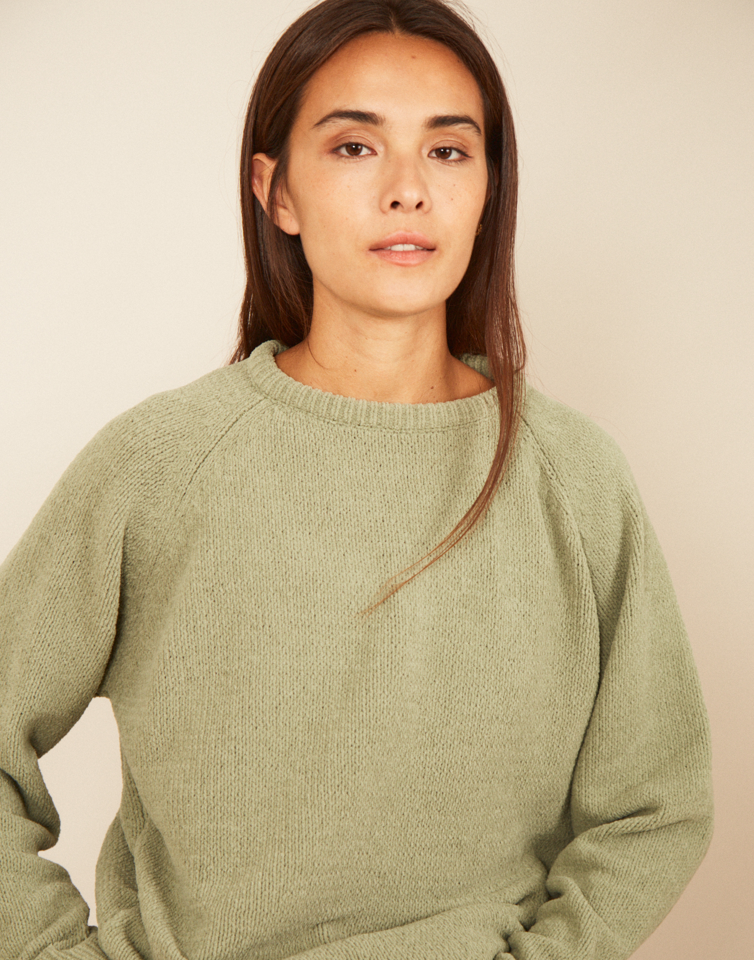 Crew-neck chenille sweater