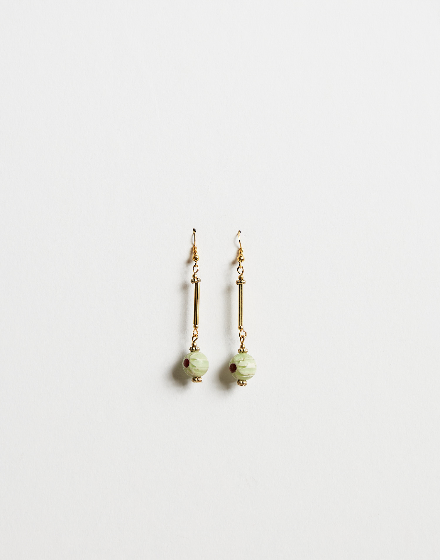 Painted bead drop earring