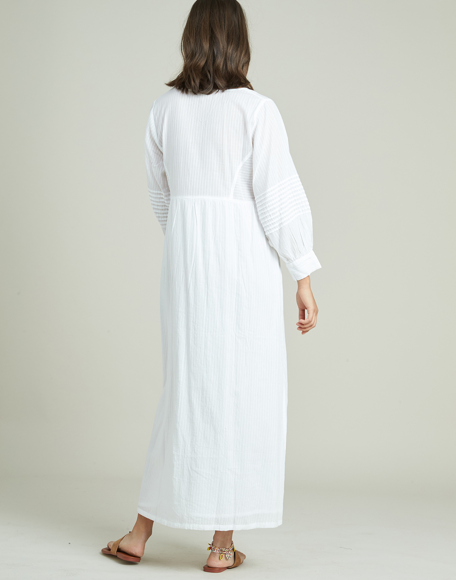 Vestido tunica largo dobby con pliegues
