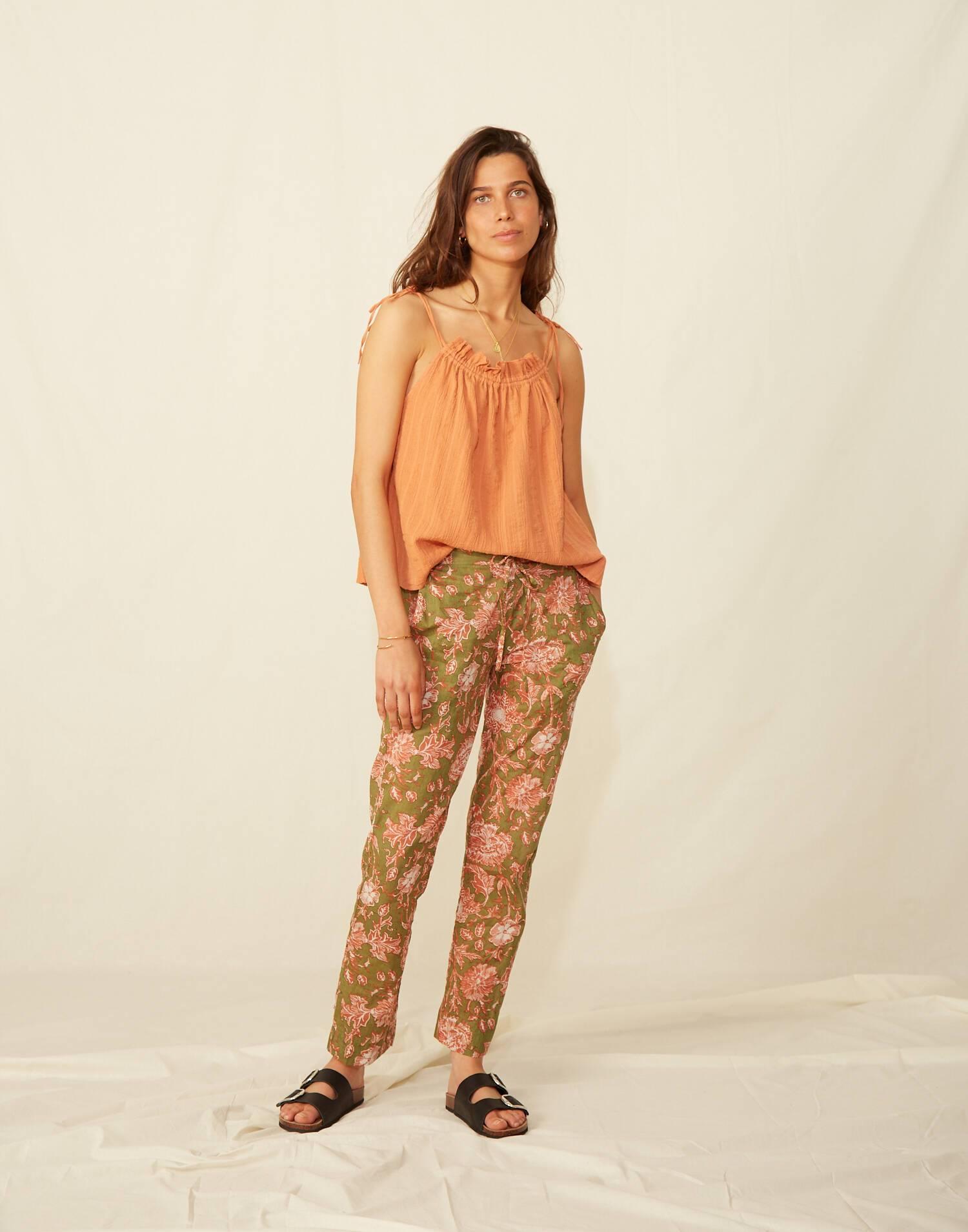 Pantalón goma floral
