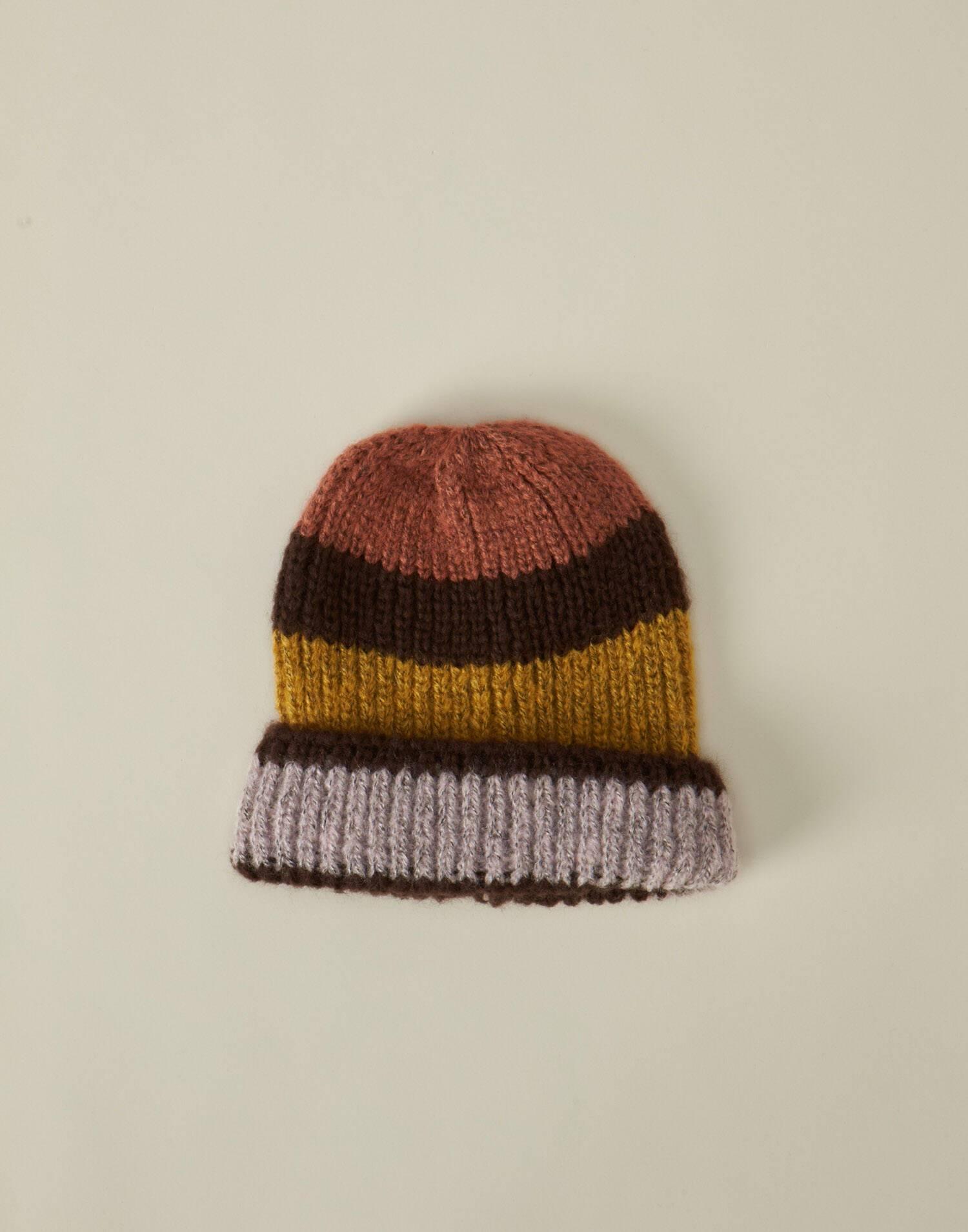 Striped chunky knit beanie