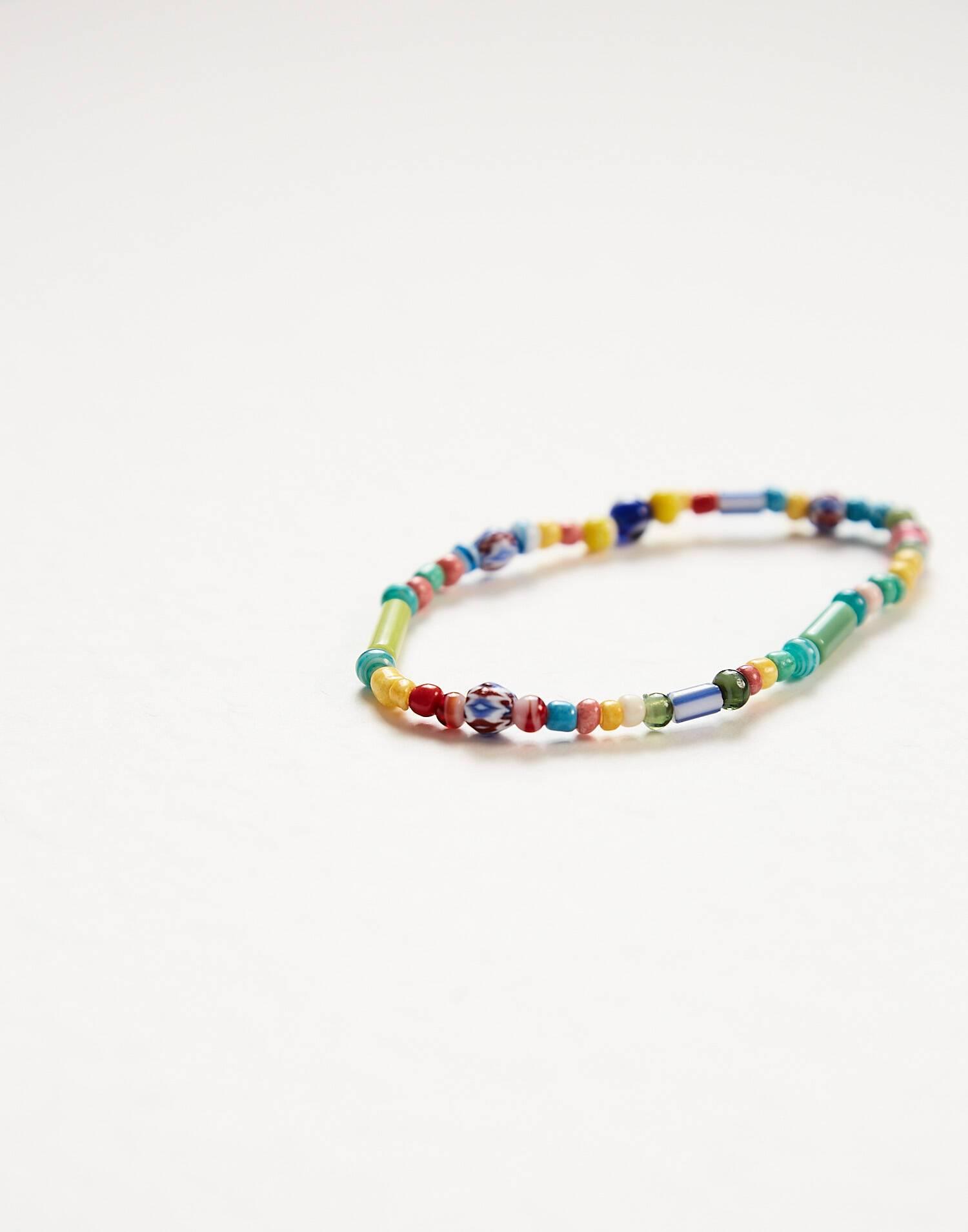 Bracelet sautoir multibeads peintes